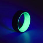 Carbon Fiber Twill Green Glow Ring (7.5)