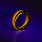 Carbon Fiber Orange Marbled Glow Ring (7.5)