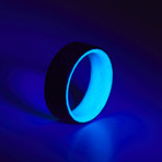 Carbon Fiber Twill Blue Glow Ring (8.5)