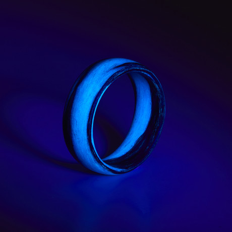 Carbon Fiber Blue Marbled Glow Ring (5)