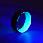 Carbon Fiber Twill Teal Glow Ring (8.5)