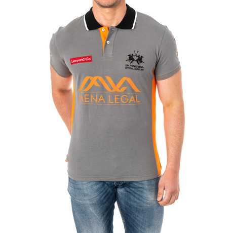 Solomon Short Sleeve Polo Shirt // Gray + Orange (Small)