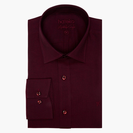 Jonathon Oxford Slim Fit Shirt // Maroon (L)