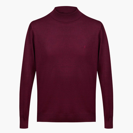 Isaiah Woolen Light Mock Neck Sweater // Maroon (L)
