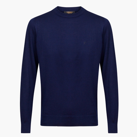 Theodore Woolen Crewneck Sweater // Navy (L)