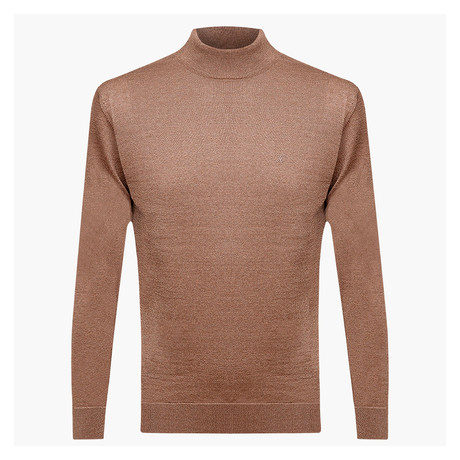 Isaiah Woolen Light Mock Neck Sweater // Light Brown (L)