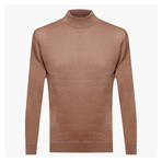Isaiah Woolen Light Mock Neck Sweater // Light Brown (S)