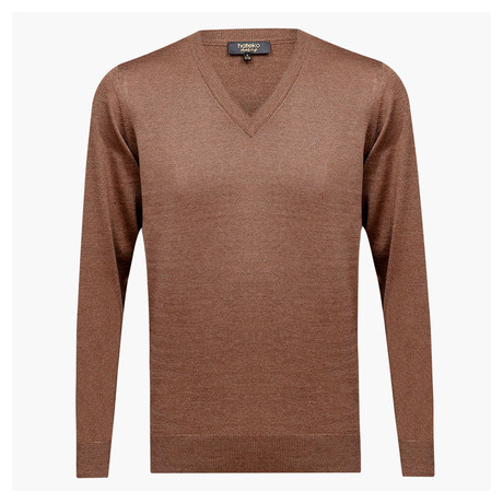 Anthony Woolen V-Neck Sweater // Light Brown (L)
