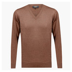 Anthony Woolen V-Neck Sweater // Light Brown (XL)