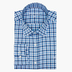Gardener Checkered Slim Fit Shirt // Blue (L)