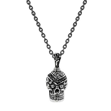 Skull Head Necklace // Steel
