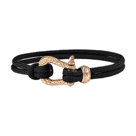 "Cord U-Lock Clasp Bracelet // Black + Rose Gold (7"")"