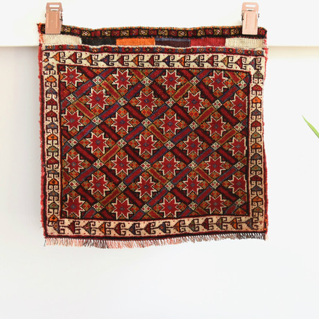 "Shiraz Bag Face // Hand Knotted Circa 1970 // 1'11""L x 1'10""W"