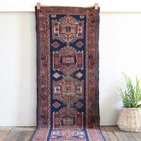 """Caucasus Runner // Hand Knotted Circa 1940 // 9'1""""L x 2'7""""W"""