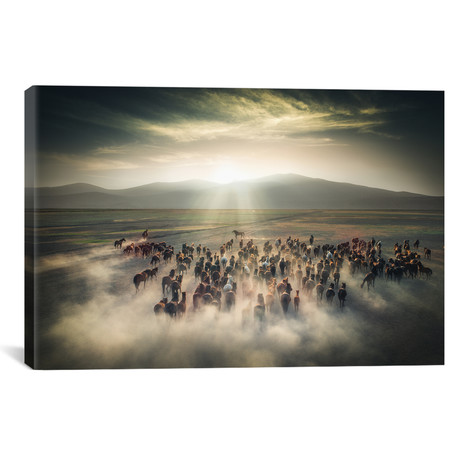 "Wild Horses II - Cappadocia - Turkey (18""W x 12""H x 0.75""D)"