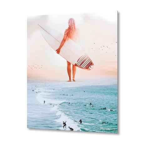 "Surfgirl // Aluminum Print (16""W x 24""H x 1.5""D)"