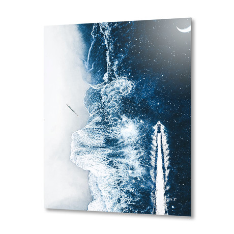 "Starry Ocean Night // Aluminum Print (16""W x 20""H x 1.5""D)"