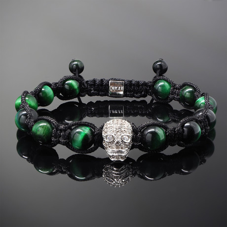 Revenant // Silver x Green Tiger's Eye Bracelet (S-M)