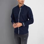 Simpson Linen Shirt // Dark Blue (Small)