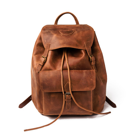 City Leather Rucksack Knapsack Large // Distressed Brown
