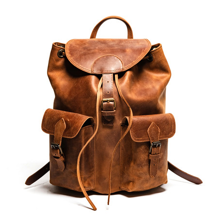 """City Leather Backpack 14"""" // Distressed Brown"""