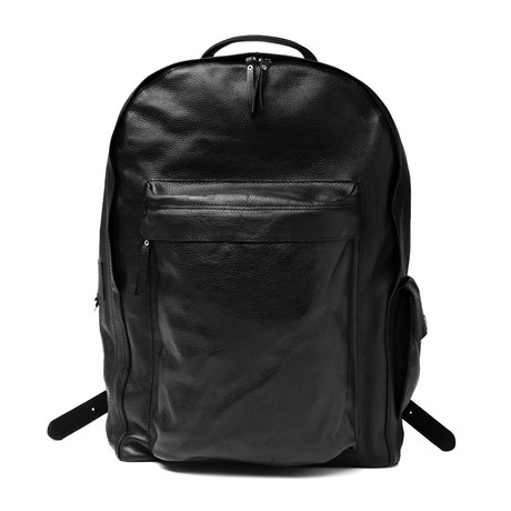Traveler Leather Backpack // Black