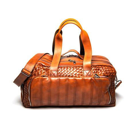 """Woven Leather Travel Duffle Bag 20"""" // Serena Brown"""