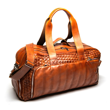 "Woven Leather Travel Duffle Bag 20"" // Serena Brown"