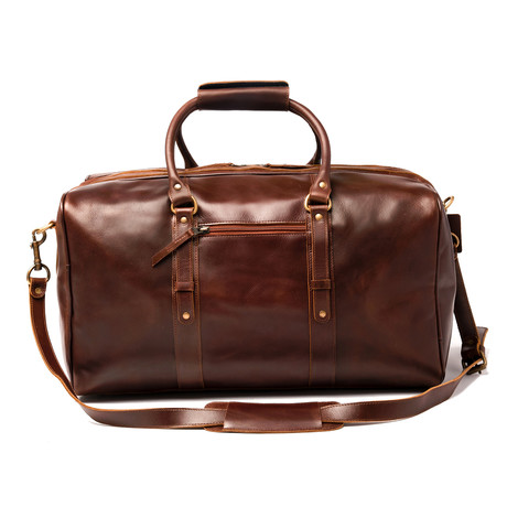 """Leather Luggage Bag 20"""" // Antique Brown"""