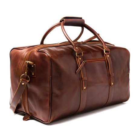 "Leather Luggage Bag 20"" // Antique Brown"