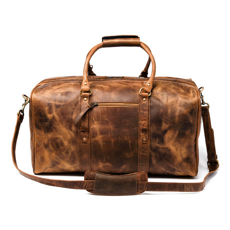 """Leather Luggage Bag 20"""" // Distressed Brown"""