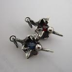 Rattlesnake Vertebra Pendant // Solid Sterling Silver + Midnight Sapphire