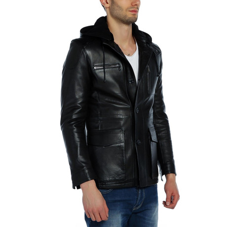 Stork Leather Jacket // Black (XS)