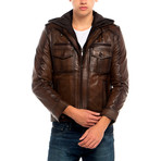 Knot Leather Jacket // Brown (XS)