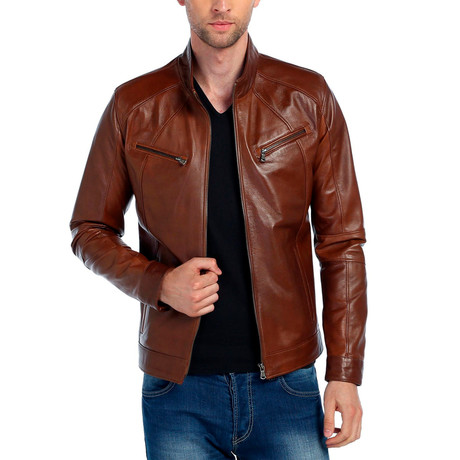 Robin Leather Jacket // Tobacco (XS)