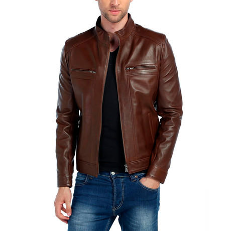 Peregrine Leather Jacket // Brown (XS)