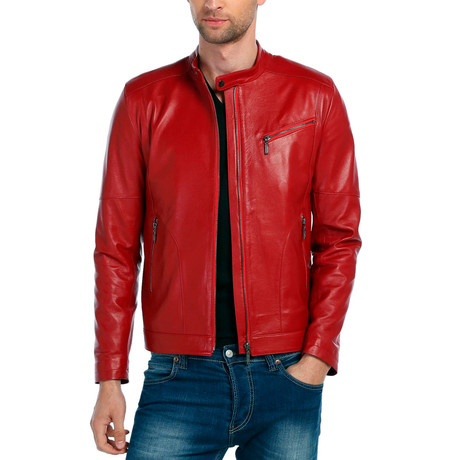 Bobolink Leather Jacket // Red (XS)