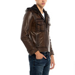 Knot Leather Jacket // Brown (XL)