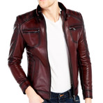 Sandhill Leather Jacket // Bordeaux (3XL)