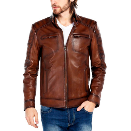 Junco Leather Jacket // Tobacco (XS)