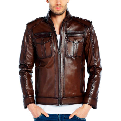 Grebe Leather Jacket // Tobacco (XS)