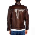 Blackbird Leather Jacket // Brown (3XL)