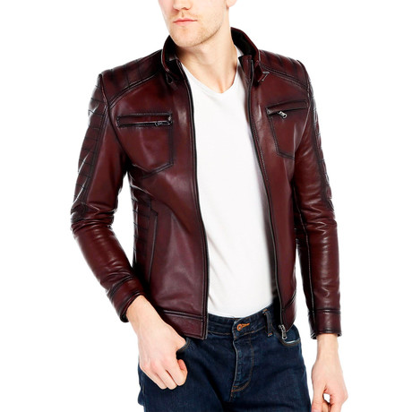 Sandhill Leather Jacket // Bordeaux (XS)