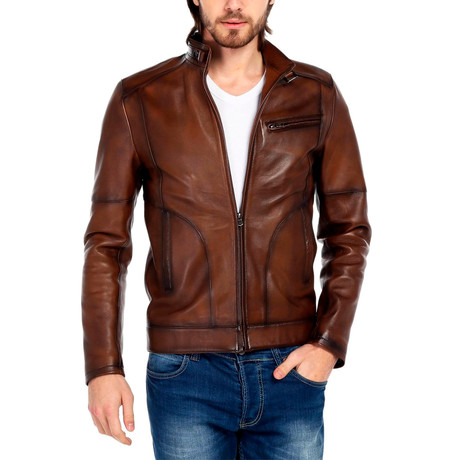 Oriole Leather Jacket // Tobacco (XS)