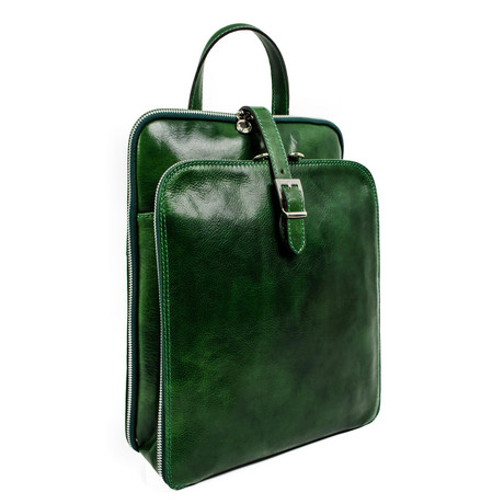 Clarissa // Women's Convertible Leather Backpack // Green