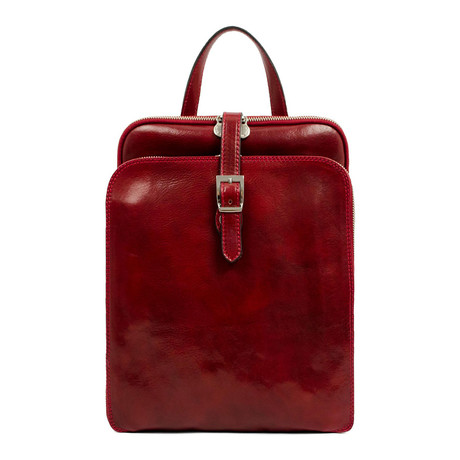 Clarissa // Women's Convertible Leather Backpack (Red)