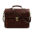 In Cold Blood // Leather Briefcase Laptop Bag // Brown
