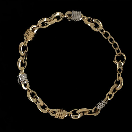Solid 18K Yellow Gold Fancy Two-Tone Syllable Link Bracelet