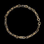 Solid 18K Yellow Gold Fancy Marina + Anchor Link Bracelet