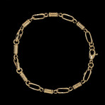 Solid 18K Yellow Gold Long Anchor + Cylinder Bracelet